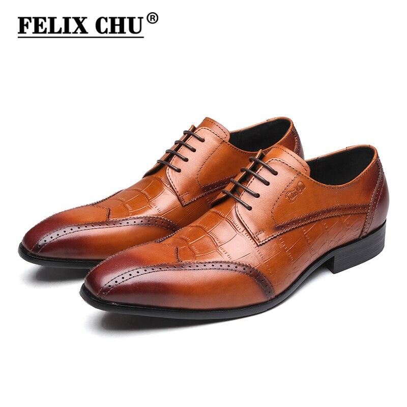 FELIX CHU Luxury Men Formal Shoe Genuine Leather Crocodile Print Brown Derby Shoes Party Office Lace Up Mans Dress Footwear