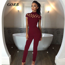 2017 newest Spring Autumn hot sales Fashion 3colors women Hollow out slim with short sleeves Jumpsuits trousers