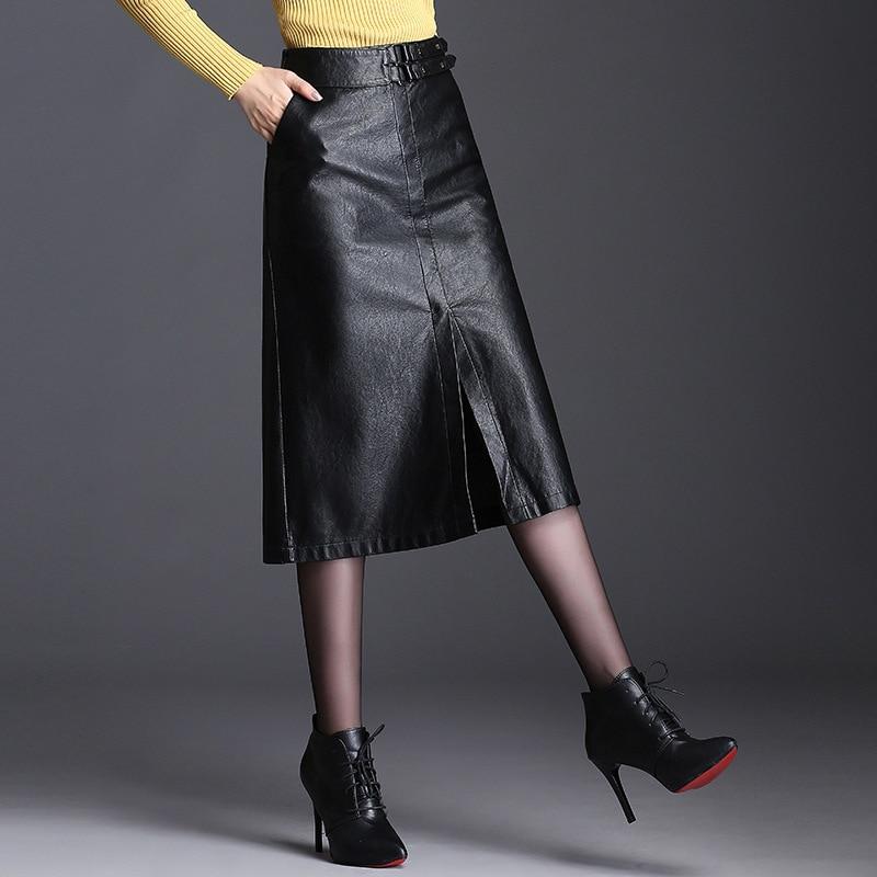 PU Leather Skirts Womens Faldas 2019 Autumn Winter New High Waist Slim Midi Long Skirt Faldas Mujer Moda Jupe Femme Jupe Longue