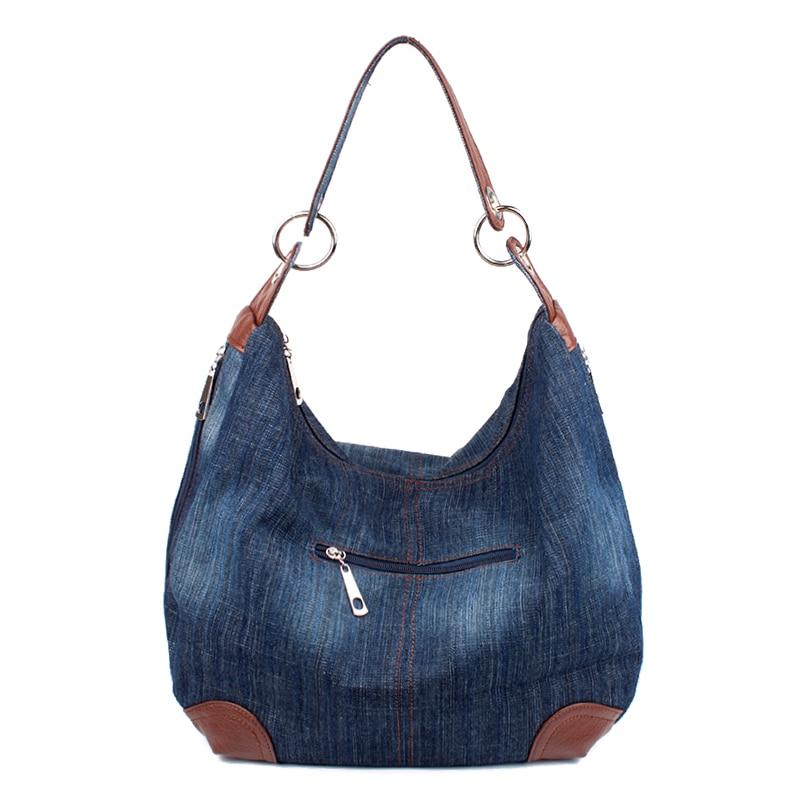 Mode Kvinnors Causal Bags Dam Denim Handväska Stora Axelväskor Blue - Handväskor - Foto 3