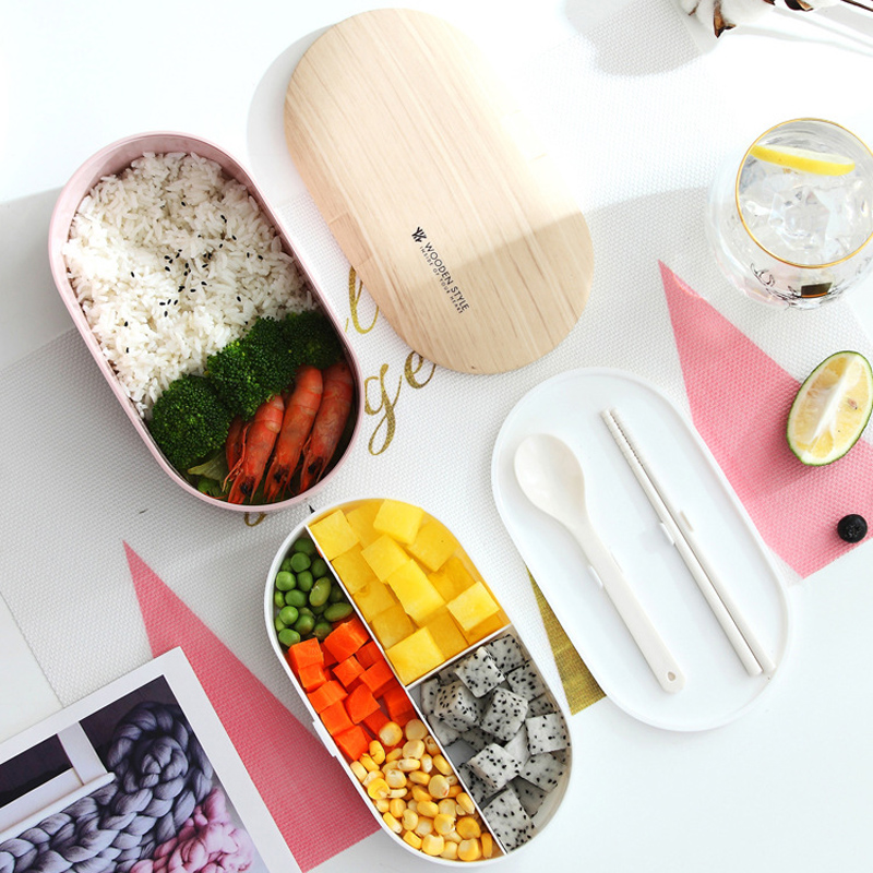 Double layer Oval Microwave Lunch Box Imitation wood Bento Box Kids Food Container Storage Portable School Pcnic 800ml in Lunch Boxes from Home Garden