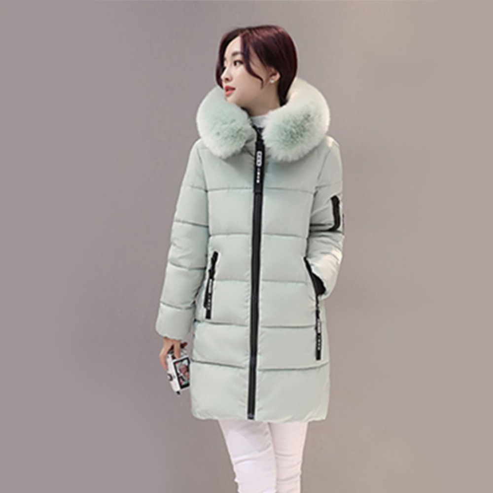 Winter Women Parkas Cotton Long Slim fit Light Green Fur Collar Hooded Coats Female Warm Thick Outerwears Cotton Padded Jackets 2017 new fashion women long cotton coats size s 2xl hooded collar warm parkas winter black navy green color woman parkas qh0449