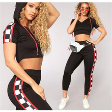 Free Ostrich 2019 two piece set tracksuit Women Pullover side plaid Striped Hoodies Sweatshirt Crop Tops+Pants Wear Casual Sets цена 2017