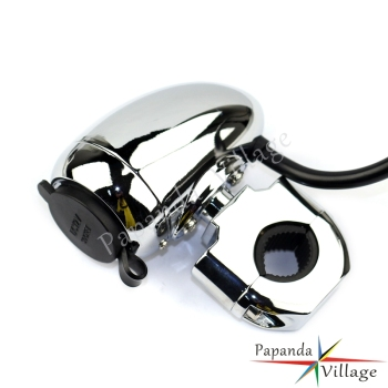 Papanda Motorbike Chrome 1 7/8 Handlebar Electrical Power Point with Cigarette Lighter for ATV Scooter Motorcycle