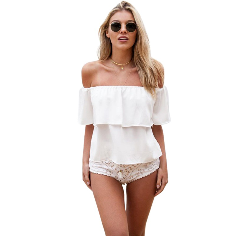 Women Summer Chiffon Top Sexy Off Shoulders Ruffles Tshirt Womens Stylish Female Casual Loose Solid Color Tops T-shirts
