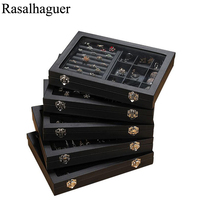Fashion New Size PU Leather Jewelry Organizer Jewelry Display Earring Holder Ring Box Necklace Casket Jewellery Gift Box