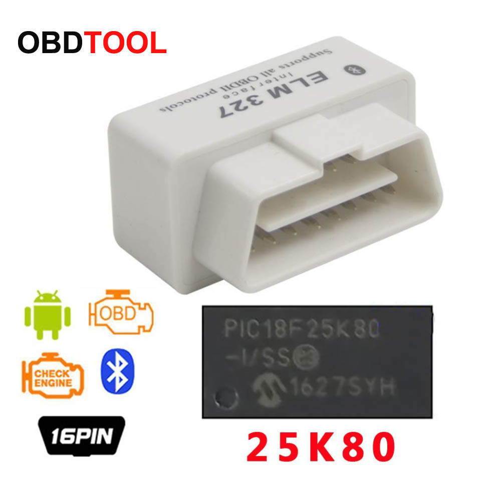 ObdTooL Bluetooth <font><b>ELM327</b></font> 1,5 <font><b>PIC18F25K80</b></font> Chip Ulme 327 V2.1 Auto Diagnose Scanner Mini OBD2 16pin Adapter Detektor 25K80 chip image