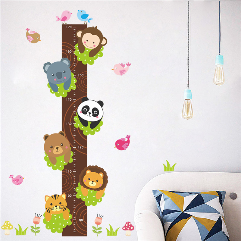 Forest Animals Lion Monkey Panda Bear Tiger Height Measure Wall