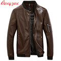 Men Leather Jacket Autumn Spring Plus Size M-5XL Casual PU Leather Motorcycle Coats Male Brand Slim Fit Trench Overcoats  F2251