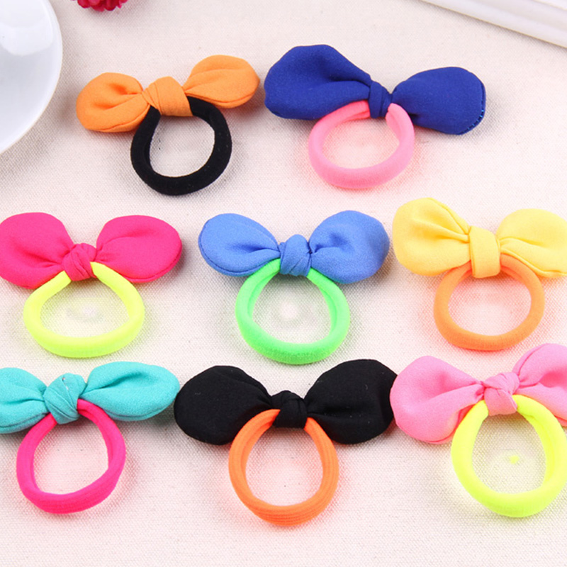 New Cute Candy Color Hair Bows Elastic Hair Bands Girls Rubber Band Headbands For Women Tie Gum Hair Rope Hair Accessories free shipping 10pcs lot new adult elastic hair bands women headwear for girls hair rope headbands accessories 14 colors 15cm