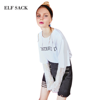 ELF SACK Women Summer Lace Tee Shirts Womens Prints Fake Two Pieces Hole Collar Womens O