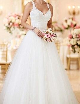 2017 New Fashion Detachable Train Lace A Line Wedding Dresses Spaghetti Straps See Through Back Tulle Vestido De Novia