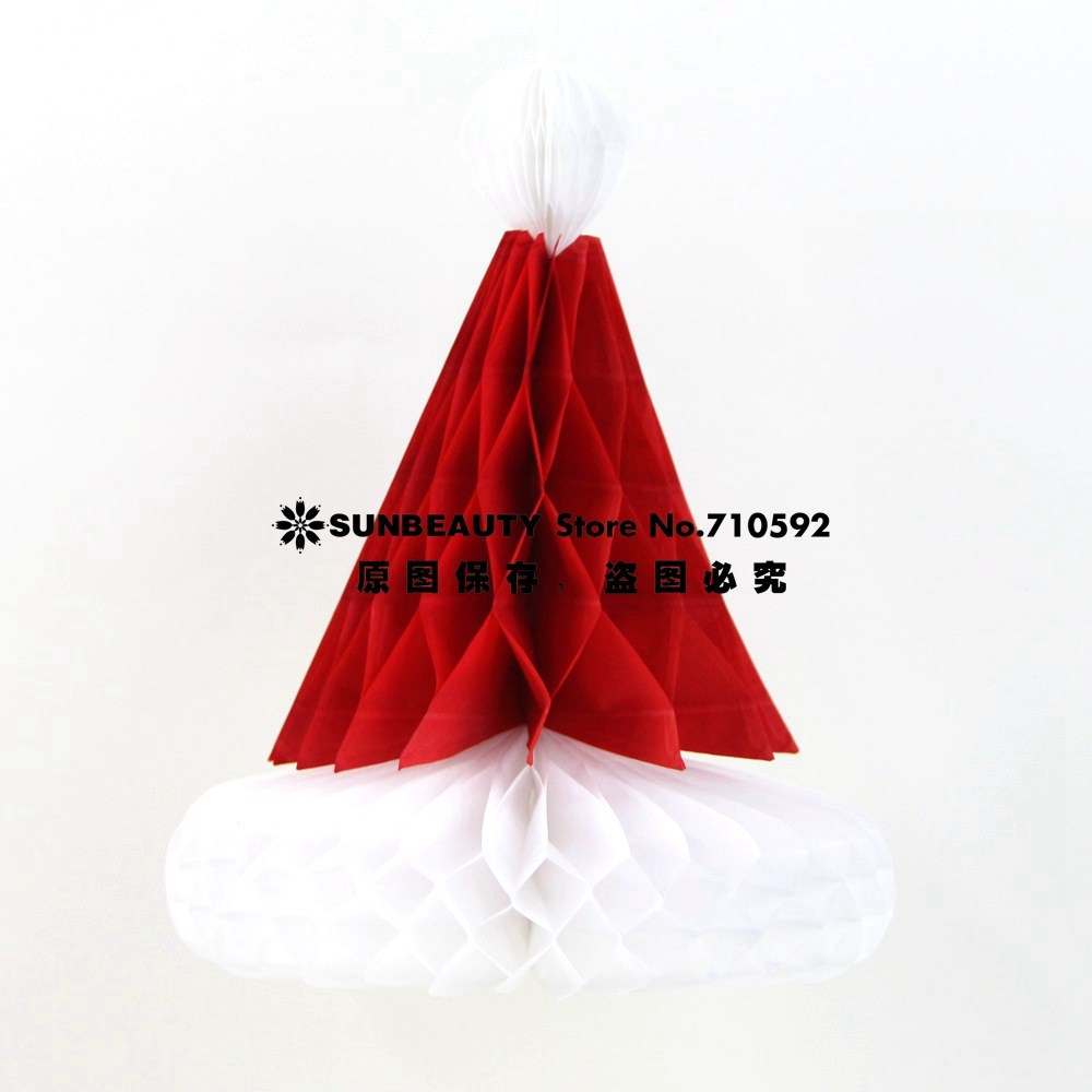 3pcs set Retro Christmas Paper Honeycomb Decorations Santa Hat Snowflake Paper Fan Honeycomb Tree Celebrations Decor in Pendant Drop Ornaments from Home Garden