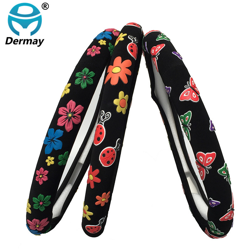 2Colors Cute Steering Wheel Covers Girls Flowers Beatles Butterfly Cartoon Diam 38cm Personalized Car Steering Wheel Cover cartoon cute steering wheel covers mickey mouse printed car steeing wheel cover black latex car interior accessories for girls