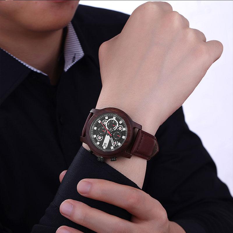 SIHAIXIN orologo Uomo cuero relojes de madera para hombre marca superior de lujo moda impermeable ejército militar deporte fecha hombre reloj # A regalo - 6
