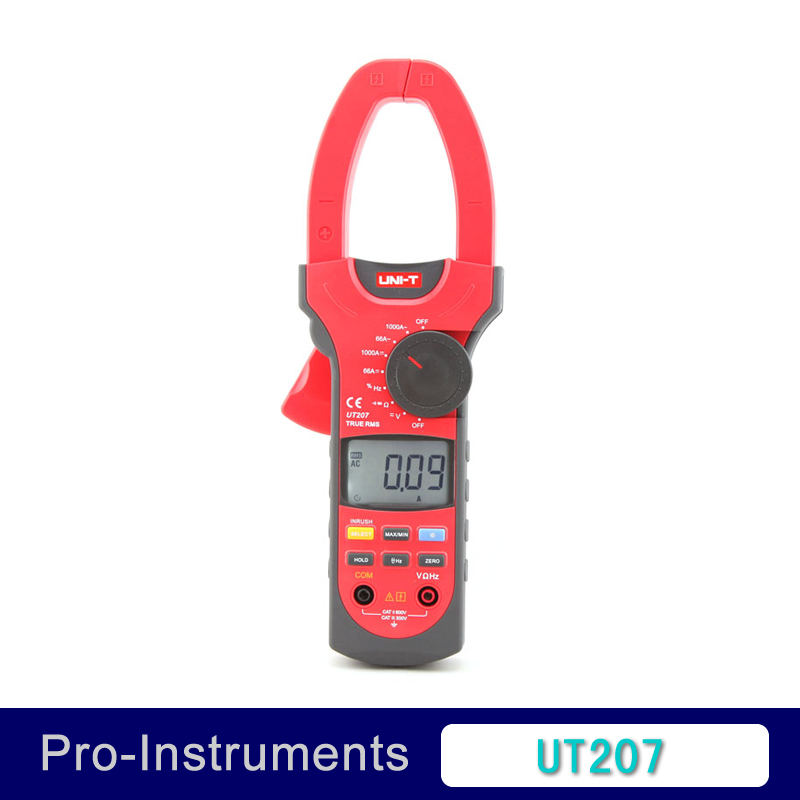 UNI-T UT207 True RMS Digital Clamp on Meter Multifunction Auto Range Multimeter ACDC Voltage Current TEMPERATURE Tester DMM
