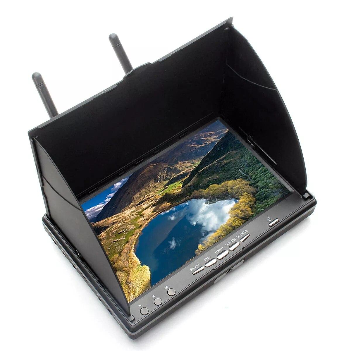 LCD5802 LT5802S 5802 5.8G 40CH 7 pouces moniteur de bande de roulement récepteur de diversité avec batterie intégrée pour Drone FPV