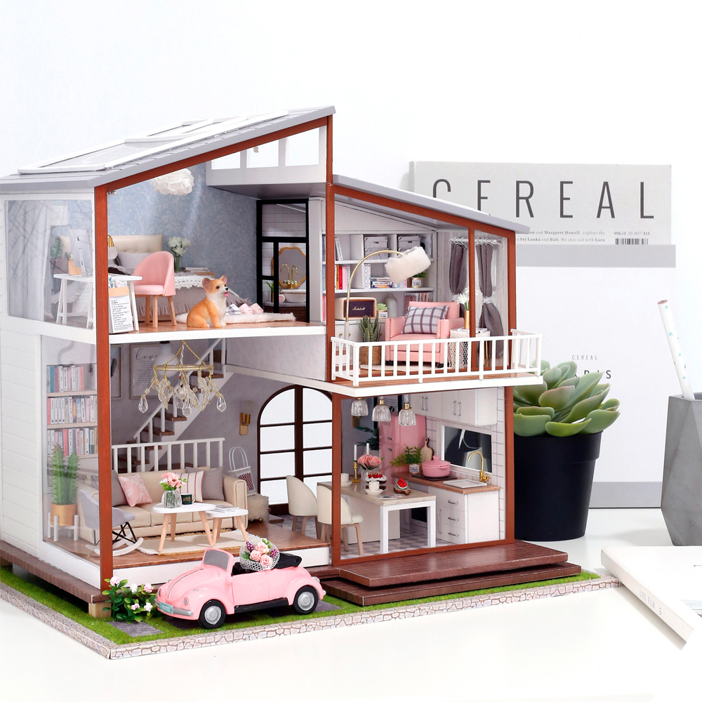 CUTEBEE Doll House Miniature DIY Dollhouse With Furnitures Wooden House Toys For Children Birthday Gift A010