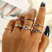 8 Pcs/set Crystal Zircon Gold Ring Set Vintage Bohemian Women Engagement Party Jewelry Gift