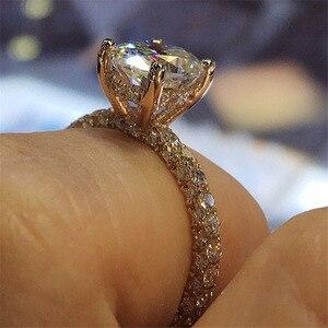 Новинка, горячая Распродажа, бриллиантовое круглое кольцо принцессы с кристаллами Swarovskis, модное женское обручальное кольцо с бриллиантами ...