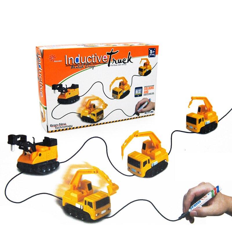 Veículos de Engenharia quente Mini Magia Indutivo Caminhão Caminhão de Brinquedo das Crianças Brinquedos Figura Tanque Caneta Desenhar Linhas de Indução Carro Ferroviário carro