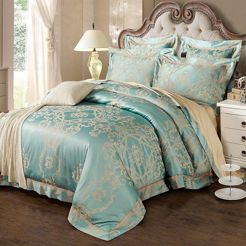New Fashion Home textile Wedding Jacquard silk Bedding set Luxury Satin Duvet cover bed linen bedclothes set