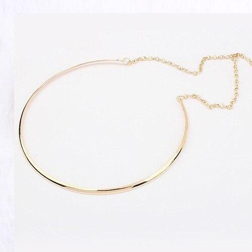 Nueva venta caliente De Color Plata Collares de Moda Personalidad Simple Punk Color Oro Gargantilla Collar joyería Declaración para las mujeres