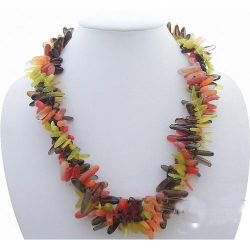 Handmade Luck Pearl Jewellery,Multicolor Natural Oli-ve Ja-de Smoky Qua-rtz Carne-lian Necklace,Fashion Stone Necklace la carne