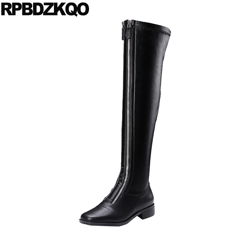Long Flat Stretch Over The Knee Shoes High Quality Waterproof Genuine Leather Black Square Toe Zipper Slim Brand Women Winter