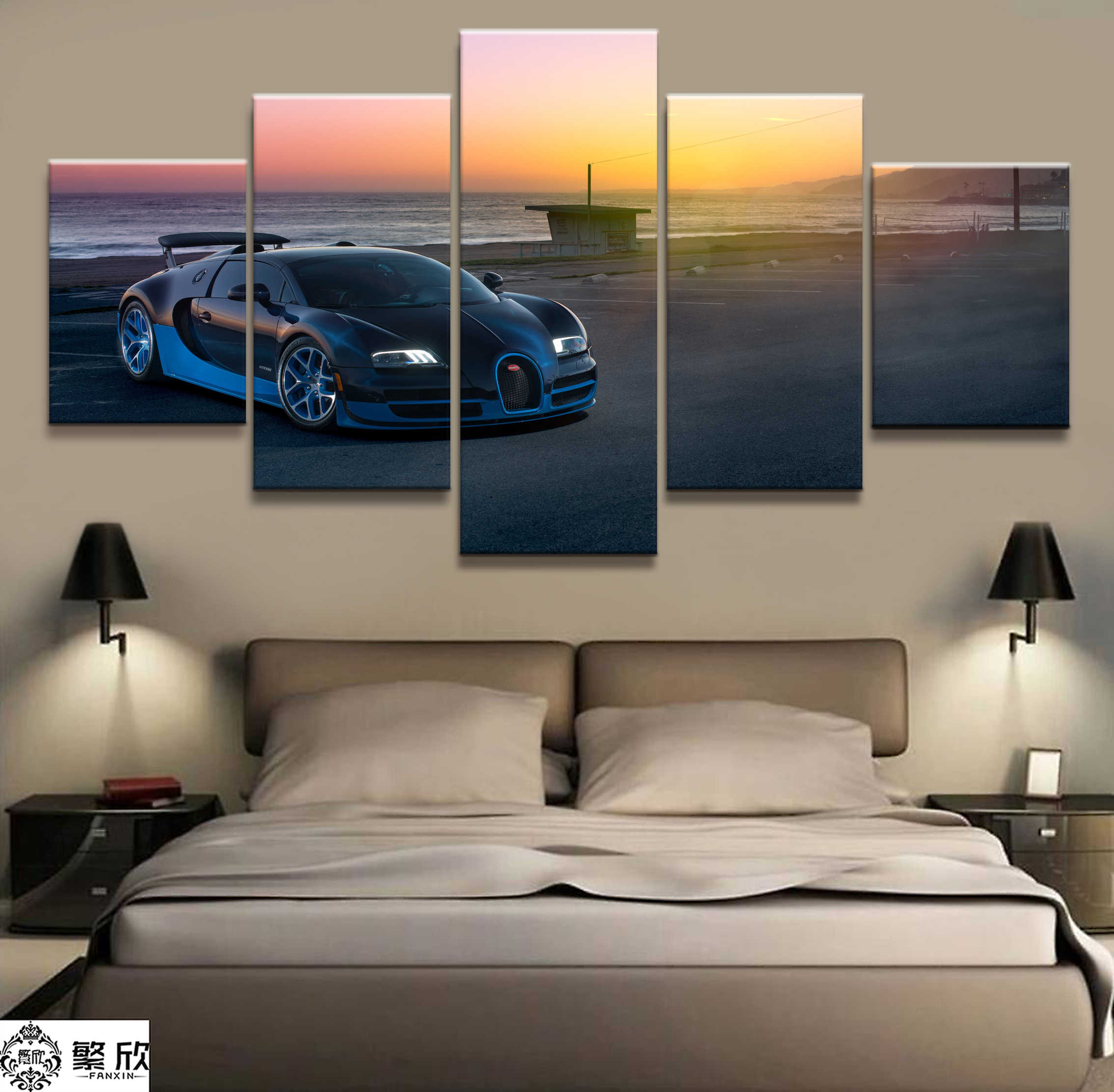 Home Decor Modular Canvas Picture 5 Piece Super Sports Car Scenery Art Painting Poster Wall For Home Canvas Painting Wholesale