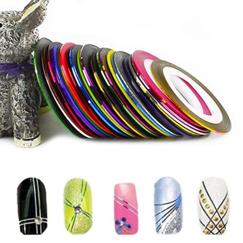 30Pcs Rolls Mixed Colors Striping Tape Line DIY Nail Art Tips Decoration Sticker
