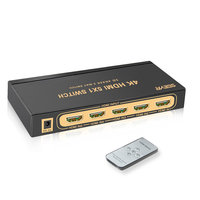 HDMI Switch 4Kx2K 5 Port 5 in 1 HDMI Splitter Switcher Box Supports 3D Compatible for HDTVs Blu ray Players Xbox PS3/4