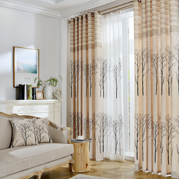 Pastoral Drapes Printed Plant Blackout Curtains And Tulle Window Curtains For Living Room Bedroom  cortinas para sala de estar