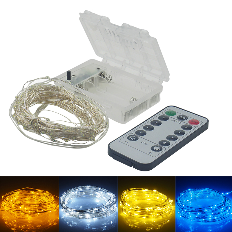 10m LED Strip Light Battery Powered RGB Copper Silver Wire Holiday String Lighting Fairy Christmas Trees Party Home z90