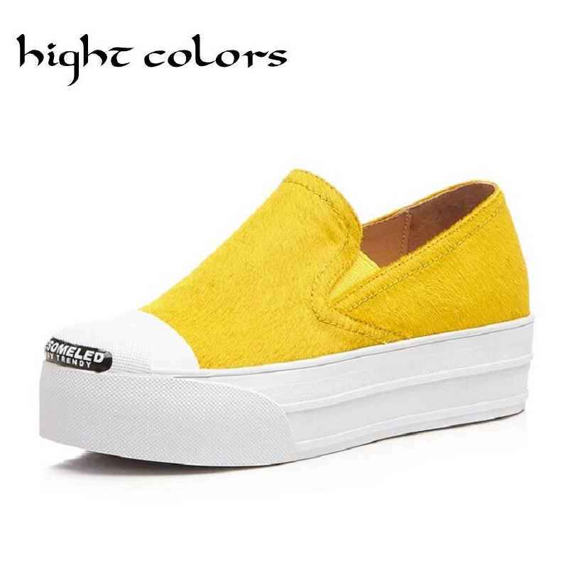 ФОТО 2017 Fashion Women Horsehair Shoes Genuine Leather Womens Platform Flats Female Casual Slip On Loafer Flats For Women Cozy Shoes