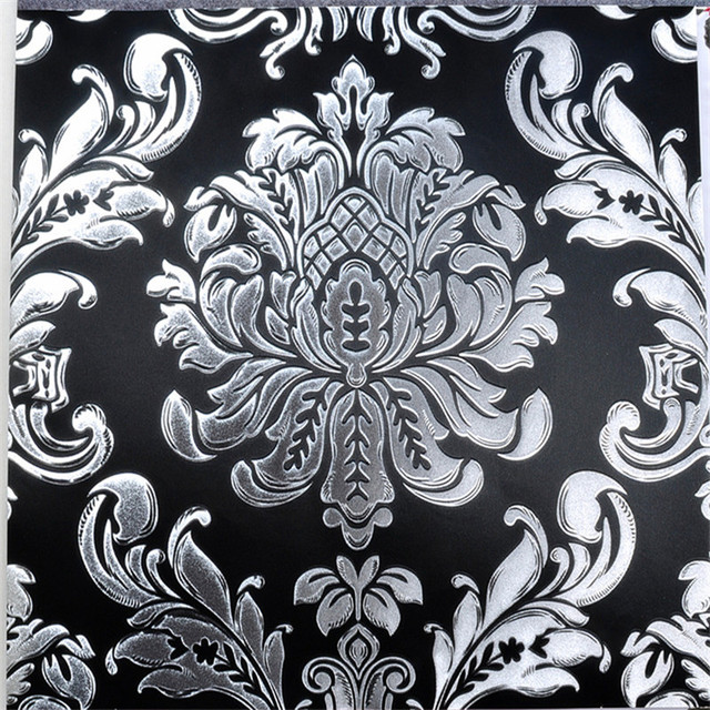 Black And Silver Wallpaper 3D Damask Gold Foil Wall Mural Glitter Contact Paper Sky Ceiling