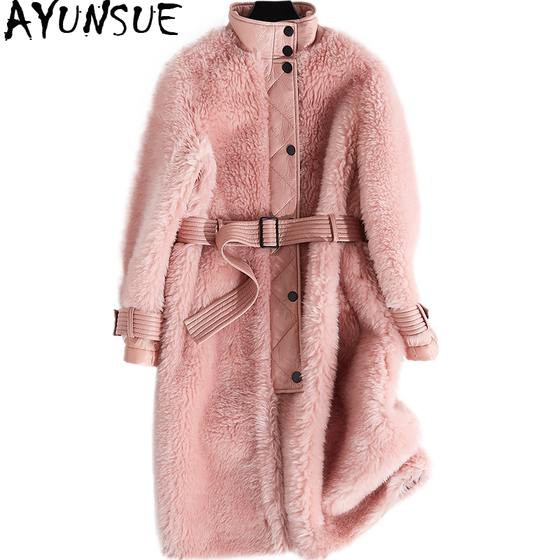 Ayunsue 2018 Для женщин натуральным мехом пальто Толстые поярок Меховая куртка длинные овечья шерсть женские куртки зимние пальто для Для женщин...