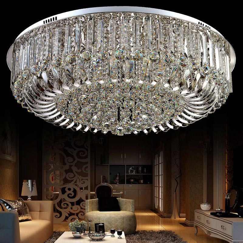 คริสตัลโคมไฟเพดานโคมไฟLuxuryโคมไฟเพดานChrome Luminaria DeckenleuchteรอบโคมไฟคริสตัลLED Fixture
