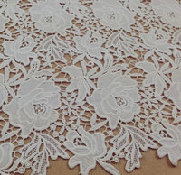 off White Crocheted Lace Fabric, retro rose lace fabric, bridal lace fabric african lace fabric