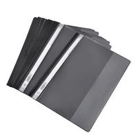 12 x Plastic Office A4 Size File Folders Organizer Black Clear