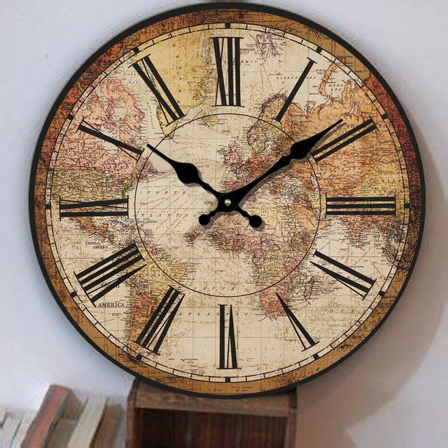 Europe retro clock creative living room american restaurant world europe retro clock creative living room american restaurant world map clock simple decorative clock bedroom fashion gumiabroncs Image collections