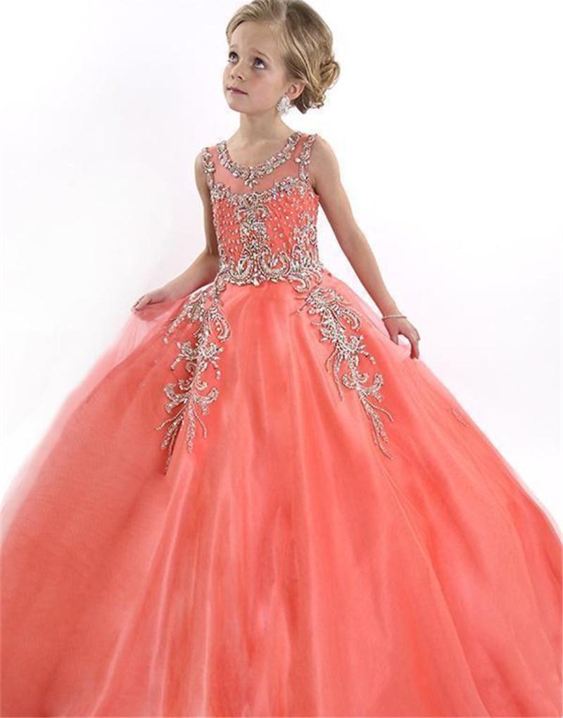 Coral 2019   Flower     Girl     Dresses   For Weddings Ball Gown Tulle Beaded Long First Communion   Dresses   For Little   Girls   Pageant   Dresses