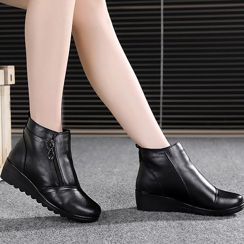 Ankle boots womens leather zipper plush microfiber designer snow boots increase waterproof female boot 2018 winter ...