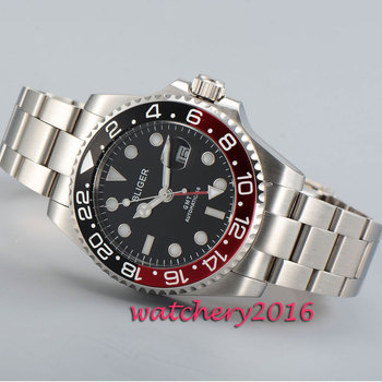 цена Modisch 43mm Bliger black dial white marks sapphire glass GMT Automatic movement Men's Watch онлайн в 2017 году