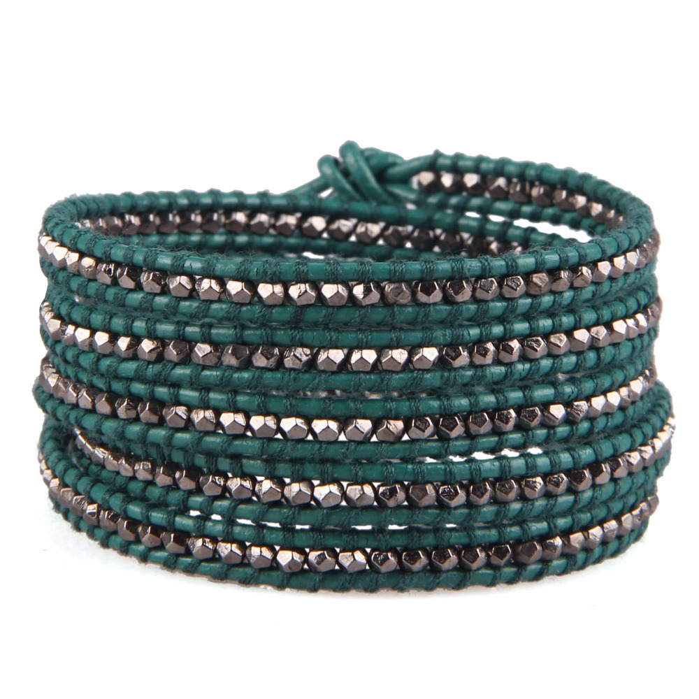 KELITCH Gun Black Silver Plated Beaded 5 Wrap Bracelet On Green Leather Stretch Bracelets for Fathers Day Men Gifts