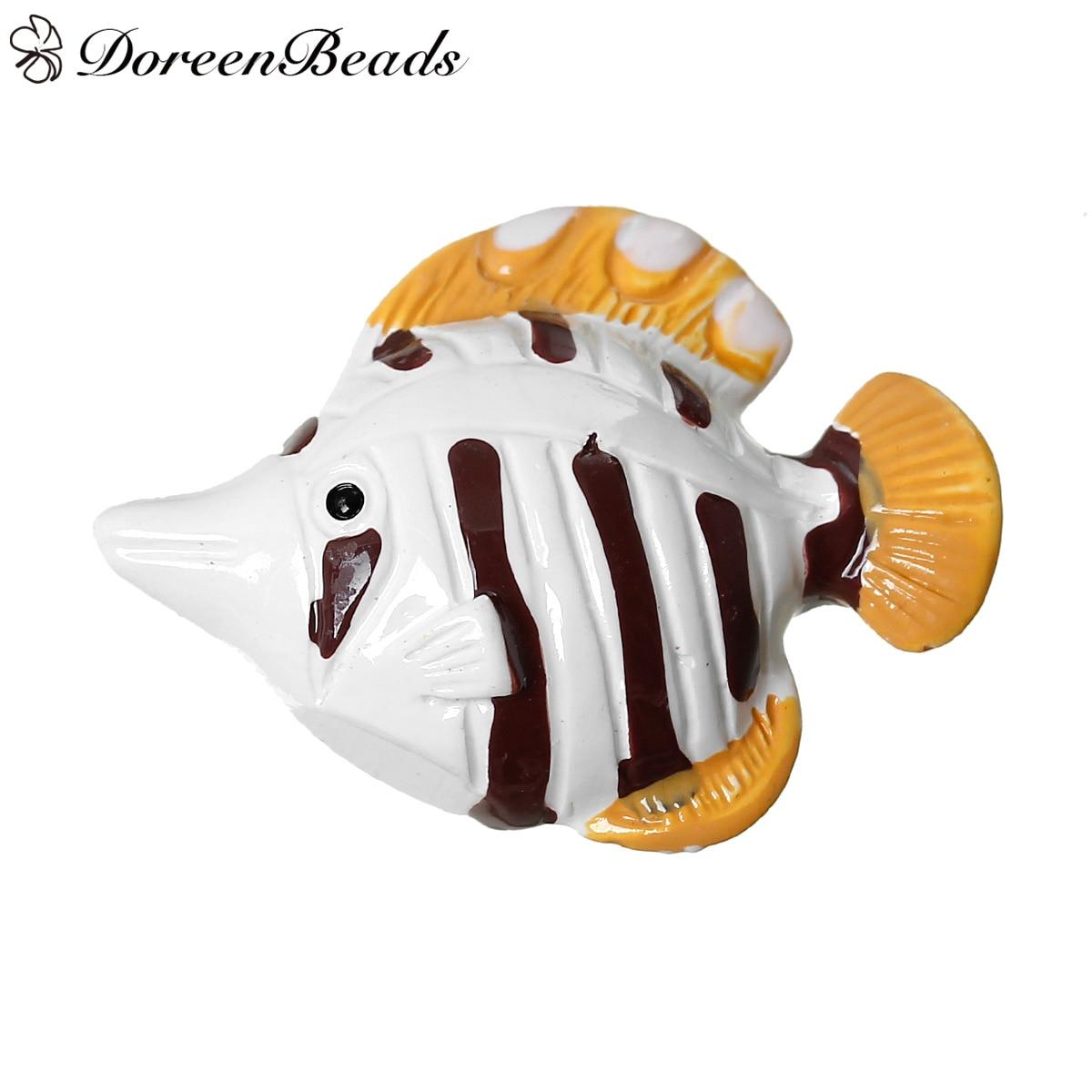 DoreenBeads Resin Cabochon Embellishments Findings Fish White 28.0mm <font><b>x</b></font> 21.0mm, 10 PCs