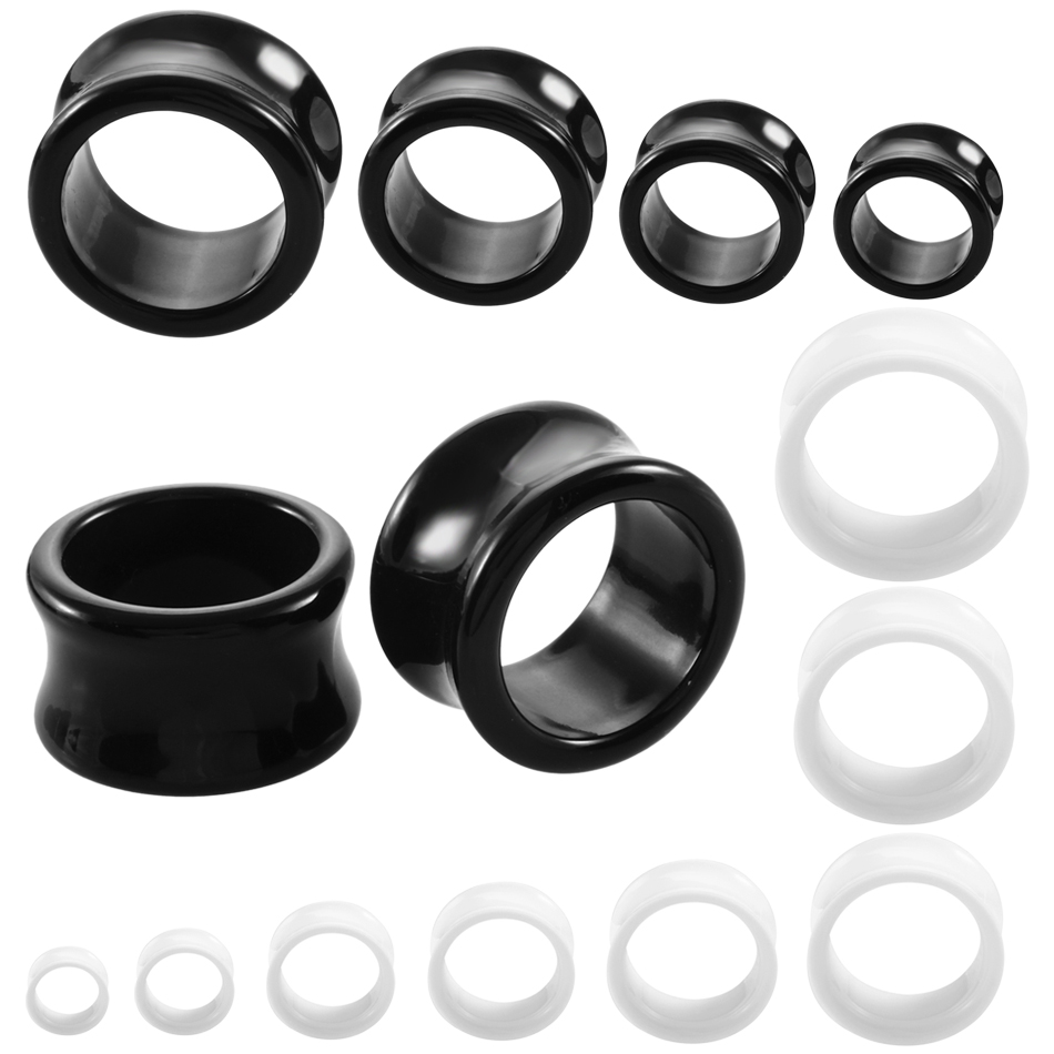 Swanjo Jewelry Gauges Tunnels Acrylic Flesh Body-Piercing Black Double-Flared White 1-Pair