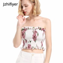 Women camisoles and tanks fancy floral strapless fashion sexy camisole crop top women lovely ladies intimates elastic