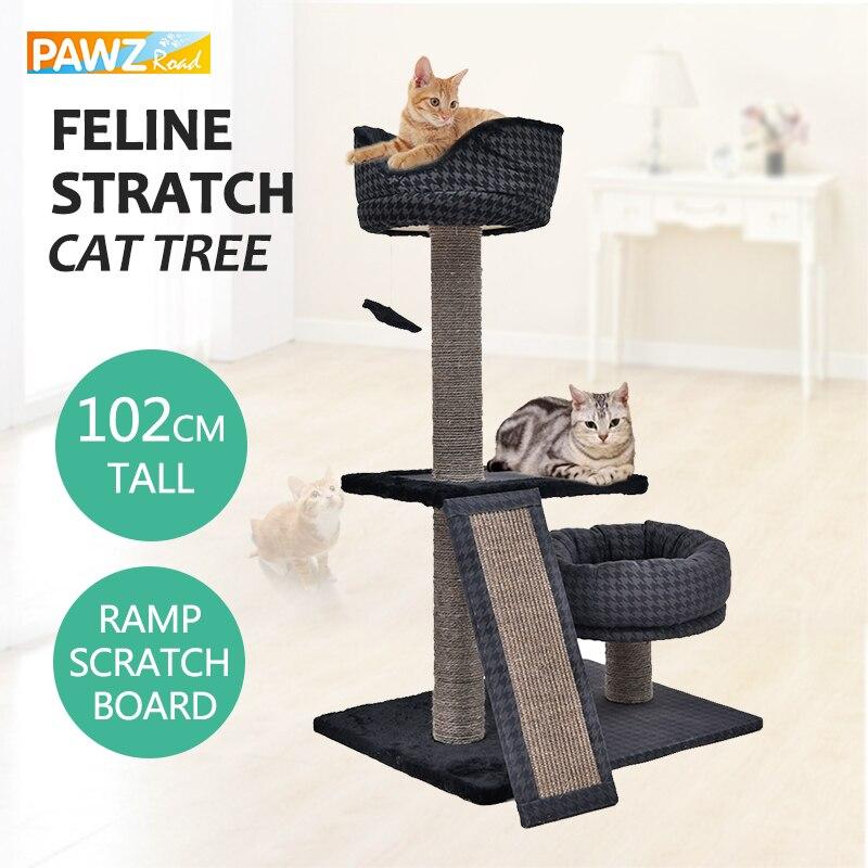 H102CM chat meubles Super doux chaud chat lit nid Durable Sisal griffoir Post multi-fonctionnel chat arbre avec jouet chat Condo