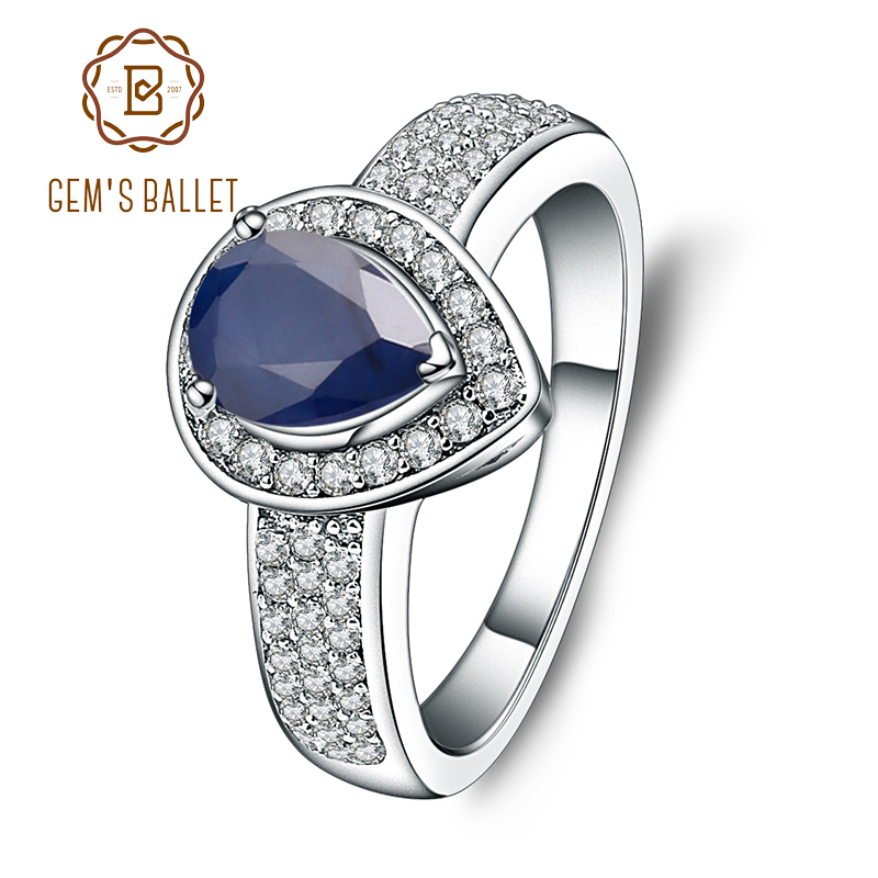 Gem's Ballet 1.29Ct Oval Natural Blue Sapphire Gemstone Wedding For Women Weddings 925 Sterling Silver Fashion Fine Jewelry